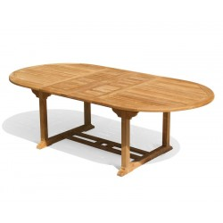 Brompton Teak Double Leaf Extending Outdoor Table - 180cm - 240cm