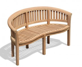 Wimbledon Teak Banana Bench - Teak Garden Furniture Sale