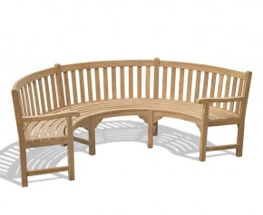 Henley Teak Curved Wooden Bench With Arms - 8ft Garden Benches