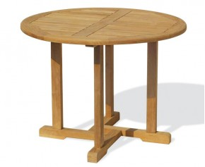 Canfield Teak Round Garden Table - 110cm - Fixed Tables