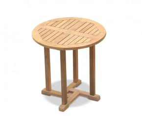 Canfield Teak Wooden Round Garden Table - 75cm - Fixed Tables