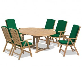 Cheltenham Oval Extending Table and 6 Reclining Chairs Set - Dining Sets