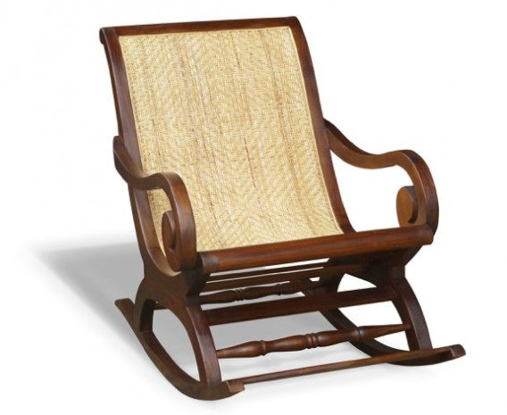 Capri Teak & Rattan Plantation Rocking Chair