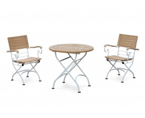 Bistro Teak & White Metal Round 0.8m Table & 2 Armchairs Set