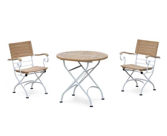 Bistro Teak & White Metal Round 0.8m Table & 2 Armchairs Set