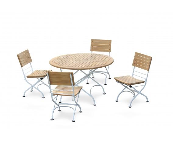 Bistro Teak & White Metal Round 1.2m Table & 4 Side Chairs Set