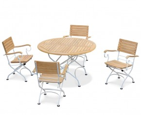 Bistro Teak & White Metal Round 1.2m Table & 4 Armchairs Set