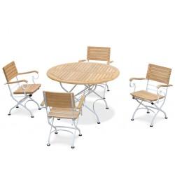 Bistro Teak & White Metal Round 1.2m Table & 4 Armchairs Set