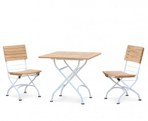 Bistro Teak & White Metal Square 0.8m Table & 2 Side Chairs Set