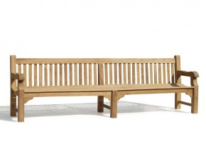 Balmoral Park Bench - Large Teak Bench 3m - Heavy Duty Garden Benches