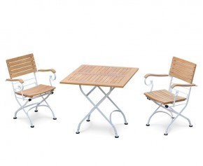 Bistro Teak & White Metal Square 0.8m Table & 2 Armchairs Set