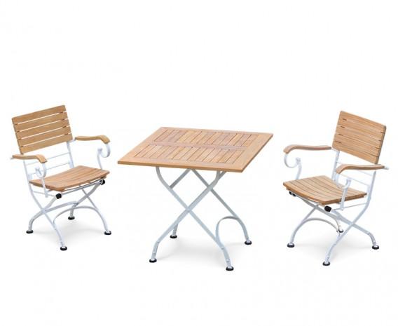 Bistro Teak & White Metal Square 0.8m Table & 2 Armchairs Set