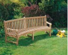 Connaught Teak Curved Garden Bench - 2.2m