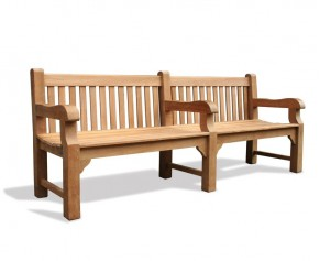 Balmoral Teak 8ft Outdoor Park Bench - 2.4m - School Benches
