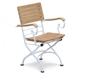 Teak Wood & White Metal Bistro Folding Armchair