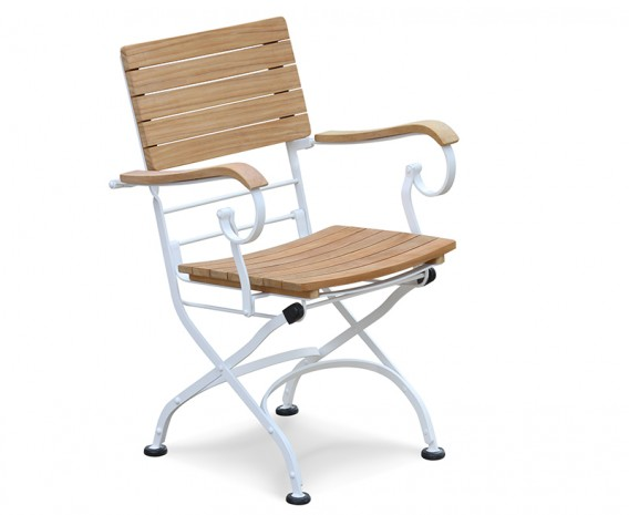 Teak Wood & White Metal Bistro Folding Armchair