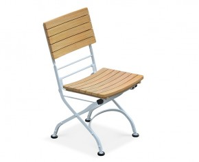 Bistro Outdoor Dining Chair, Folding Side Chair – Satin White