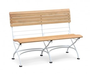 Teak Folding Bistro Garden Bench, Satin White – 1.2m