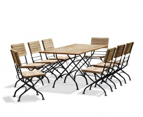Bistro Rectangular 1.8m Table with 8 Dining Chairs, Folding Bistro Set, Black