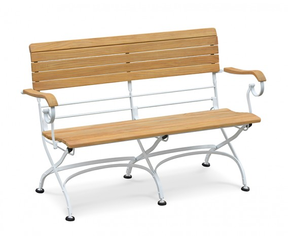 Teak Folding Bistro Garden Bench with Arms, Satin White – 1.2m