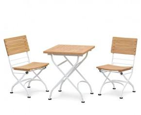 Bistro Teak Square 0.6m Table & 2 Side Chairs Set, Satin White Finish