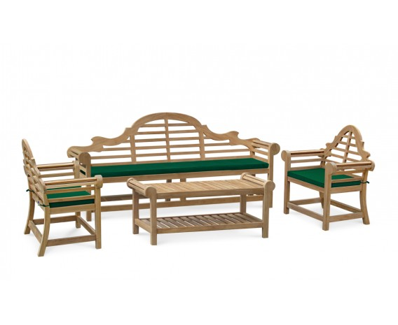 Teak Lutyens Bench, Table and Chairs Set – 2.25m