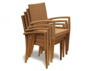 St Tropez Rattan Garden Stacking Chair - Teak / Rattan