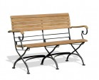 Garden Table and Bench Set, Rectangular Bistro Table with 2 Benches with arms, Black