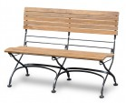 Outdoor Table and Bench Set, Rectangular Bistro Table with 2 Benches, Black
