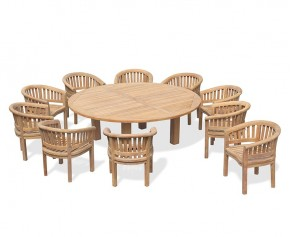 10 Seater Garden Furniture Set, Titan Round 2.2m Table with Contemporary Banana Chairs