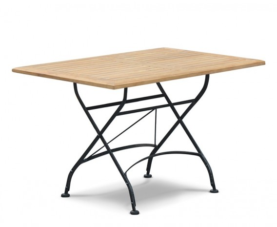 Folding Rectangular Bistro Table, Teak, Raven Black – 1.2m