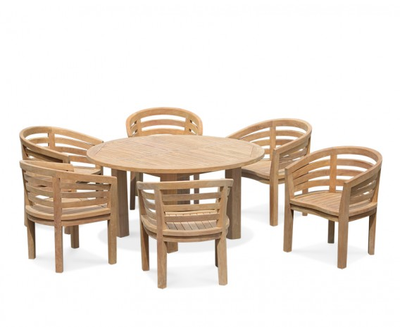 6 Seater Patio Set, Titan Round 1.5m Table With Kensington Banana Chairs