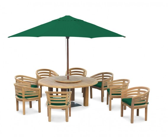Teak 8 Seater Patio Furniture Set, Titan Round 1.8m Table with Kensington Banana Chairs