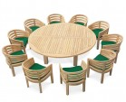Large Garden Dining Set, Titan Round 2.2m Table with 10 Kensington Banana Chairs