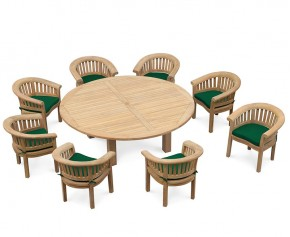 Large Patio Dining Set, Titan Round 2.2m Table with 8 Deluxe Banana Chairs
