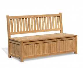 Windsor 5ft Teak Outdoor Storage Bench - 3 Seater Garden Benches