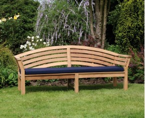 Salisbury Teak Outdoor Wooden Bench - 1.95m - Curved Garden Benches