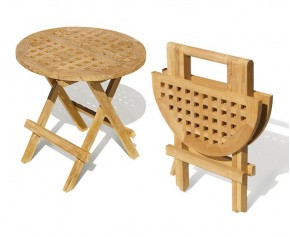 Folding Round Teak Picnic Table - Side Tables