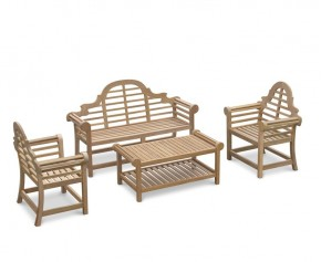Teak Lutyens-Style Bench and Table Set - 1.65m