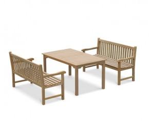 Sandringham 1.5m Teak Garden Table and Bench Set
