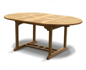 Brompton Teak Double Leaf Extendable Garden Table 120cm - 180cm - 6 Seater Dining Tables