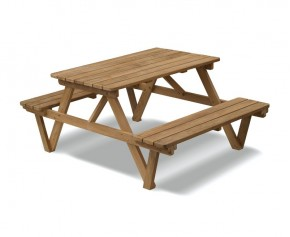 4ft Teak Picnic Bench - 2 Seater Garden Benches
