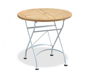 Bistro Folding Table - 80cm | Teak Wood | Satin White