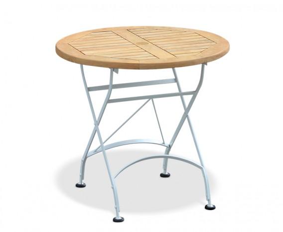 Bistro Folding Table - 80cm | Teak Wood | Satin White
