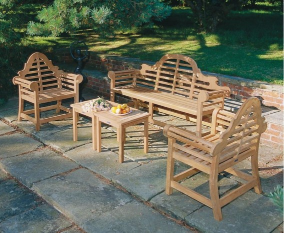 Lutyens Teak Bench, Table and Chairs Set 1.65m