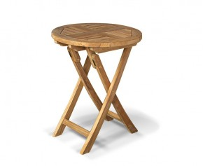 Suffolk Teak Folding Round Garden Table - 60cm - Suffolk Tables