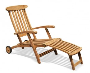 Teak Steamer Chair with wheels - Teak Sun Loungers