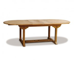 Brompton Teak Double Leaf Extendable Oval Garden Table 180cm - 240cm - Extending Garden Tables