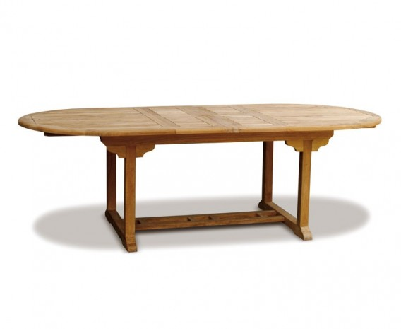 Brompton Teak Double Leaf Extendable Oval Garden Table 180cm - 240cm