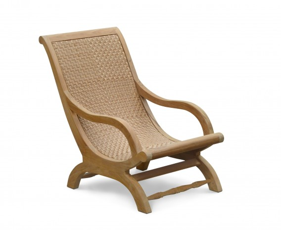 Riviera Outdoor Lounge Chair, Teak and Rattan Lazy Chair